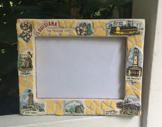 highlighting Georgia attractions made from vintage souvenir plate Mosaic Picture Frame