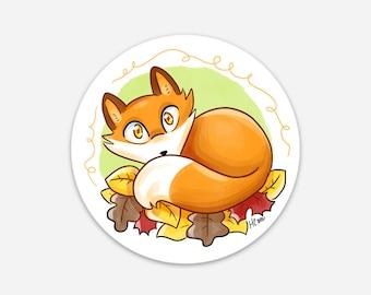 Fall Fox, Sticker, red fox, cute fox