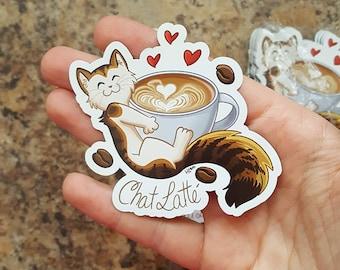 cat latte, fridge magnets, magnetic fridge, magnet featuring funny cat, chai latte, coffee