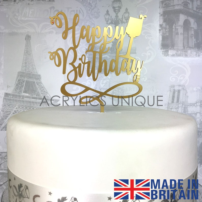 Happy Birthday Cake Topper Acrylic Celebration