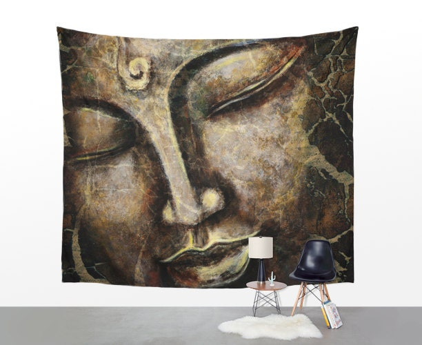 Red OM Buddha Sitting on Lotus Tapestry, Tie Dye ... |Buddha Wall Tapestry