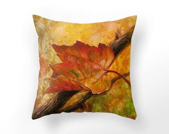 Fall Leaf  THROW PILLOW cover Autumn home decor red leaf cushion cover, unique fall pillow cover, home decor, art home, Autumn design