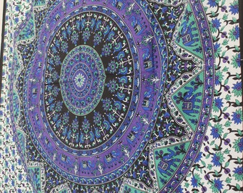 Blue Star Tapestry, Psychedelic  Tapestry, Bohemian Mandala Tapestries, Hippie Elephant Wall Hangings art, Hippy Bedding Blanket and throw