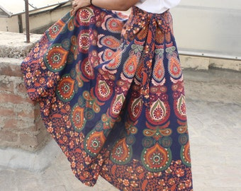 Silk Wrap Skirt Made From Upcycled Indian Saris Reversible Skirts Gypsy Festival Long Length