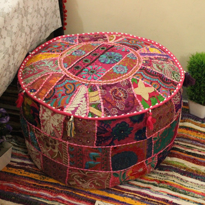 Indian Ottoman Pouf Cover Vintage Embroidered Embroidered Footstool Pouffe Home & Garden