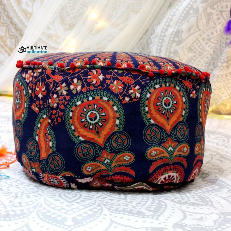 Blue Boho Floor Seating pouf Rustic Bohemian Pouf Ottoman COVER Mandala Bean bag art Indian Mandala Floor Pouf cushion Cotton footstool