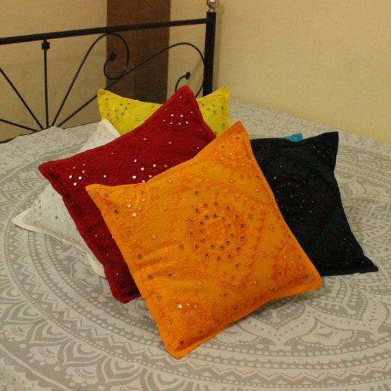 Embroidered Indian Mirror Cotton Pillow Cases Black Geometrical 40cm Set Of 2