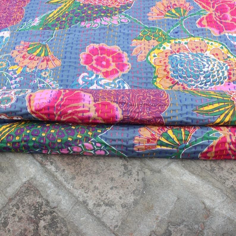 kantha throw Gray Bohemian quilt kantha quilt Boho quilt kantha Blanket Floral Indian quilts Boho bedding kantha bedding boho decor