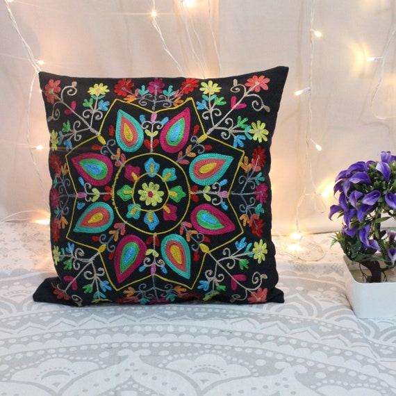 Zitzak Relax Time.16x16 Black Indian Cushion Cover Boho Pillow Suzani Cushion Etsy