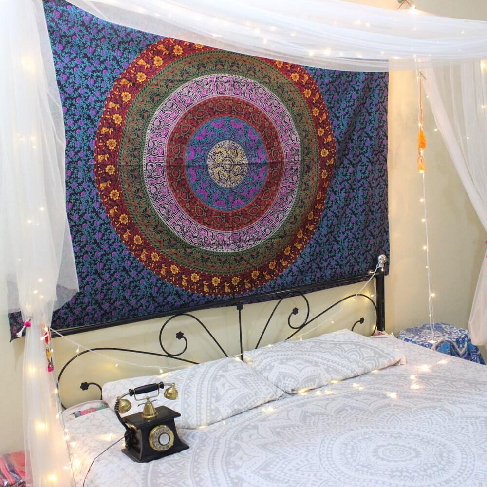 Zwilling Blau Wand Gobelin Mandala Wandteppich Floral