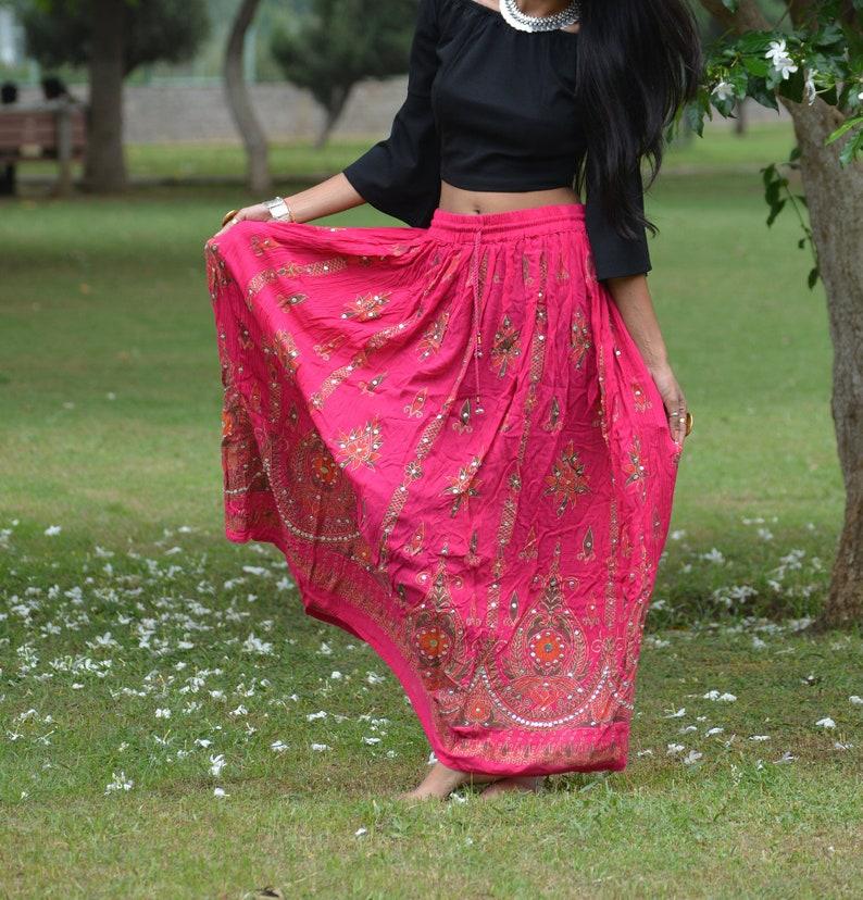 Handmade Boho Skirt Blue Gypsy Long Maxi Hippie Boho Full Length Sequins