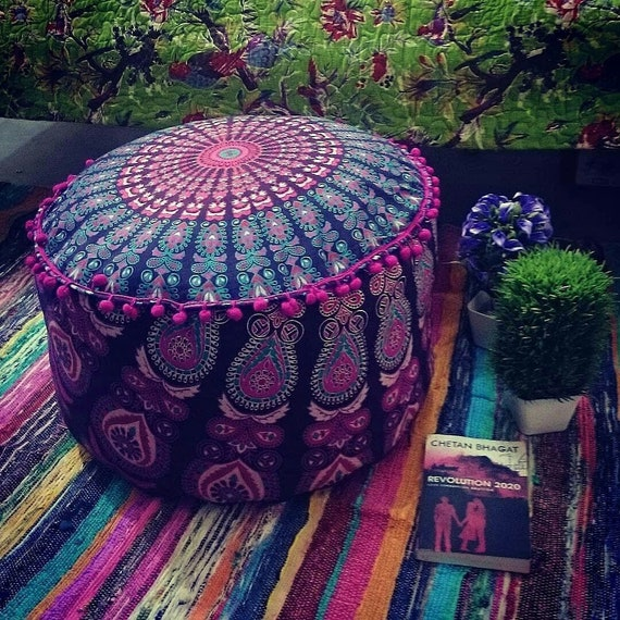 "16/"" Square Seat Floor Cushion Ottoman Pouf Stool Cover INDIAN Bohemian Decor"