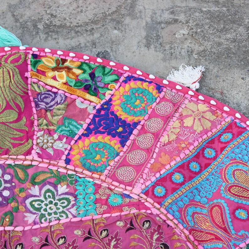 Large Pink Boho Floor Pillow cover Indian bean bag Bohemian Round seating pouf patchwork boho Pillow meditation cushion Pet bed XL dog bed