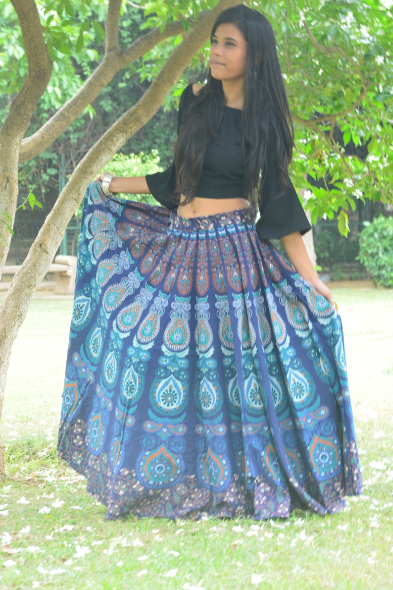 766de32a2a Blue Boho skirt Indian gypsy skirt Mandala maxi Bohemian | Etsy