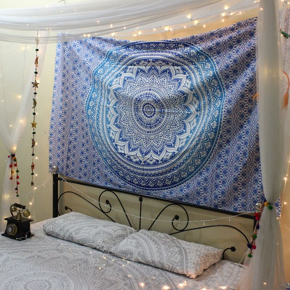 Twin Blue Indian Tapestry Wall Hanging Mandala Tapestry Hippie Etsy