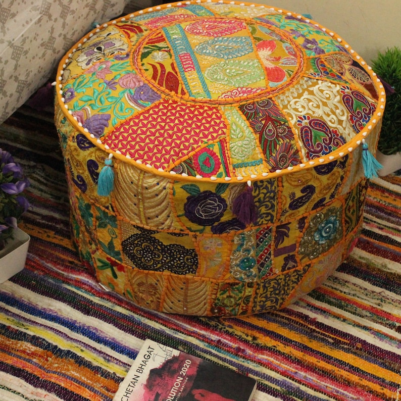 Special Section Indian Tie Dye Mandala Pouf Ottoman Cover Round Floor Footstool Ethnic Pouffe Home, Furniture & Diy Furniture