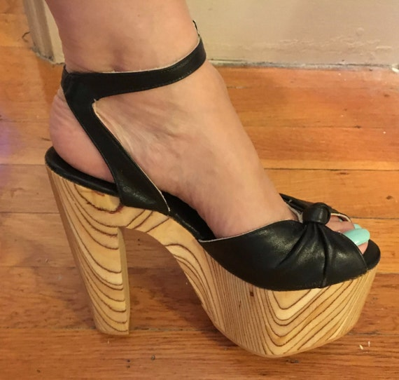 Vintage Killer 70s Tall Platform Wood Disco Shoes