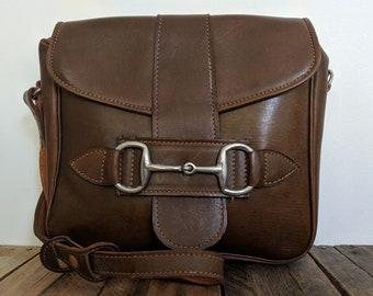 83918bf8a5 Vintage Equestrian Coach Hide Brown Leather Satchel Saddlebag Shoulder Hand  Bag Handbag 60s 70s Snaffle Bit