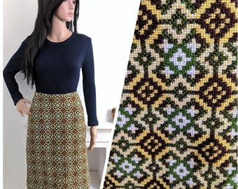 Vintage 60s Green Welsh Tapestry Wool Geometric Pencil Skirt Mod / UK 10 12 / EU 38 40 / US 6 8
