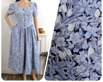 Vintage Laura Ashley Grey Blue Sweetheart Botanical Floral Cotton Tea Dress S / UK 8 10 / EU 36 38 / US 4 6