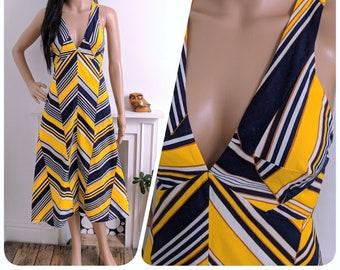 Vintage 70s Navy Yellow Cotton Chevron Stripe A line Sun Dress Boho Midi / UK 8 / EU 36 / US 4