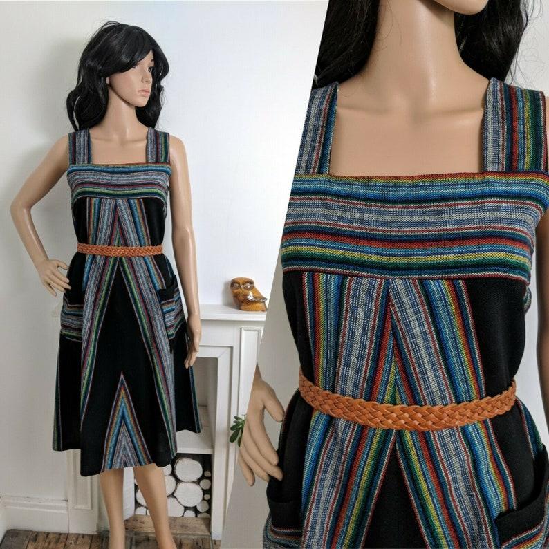 87a5818e662b Vintage 70s Dorothy Perkins Ethnic Stripe Black Pinafore A | Etsy