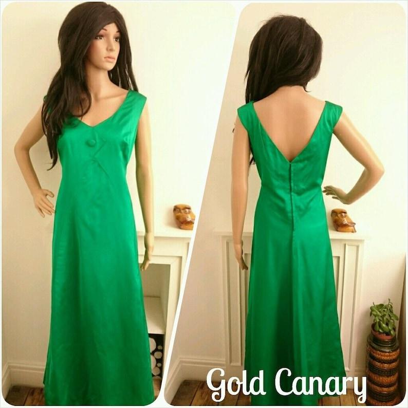 897260255d6 Vintage Gina Gaye London 50s 60s Green Satin Cocktail Evening