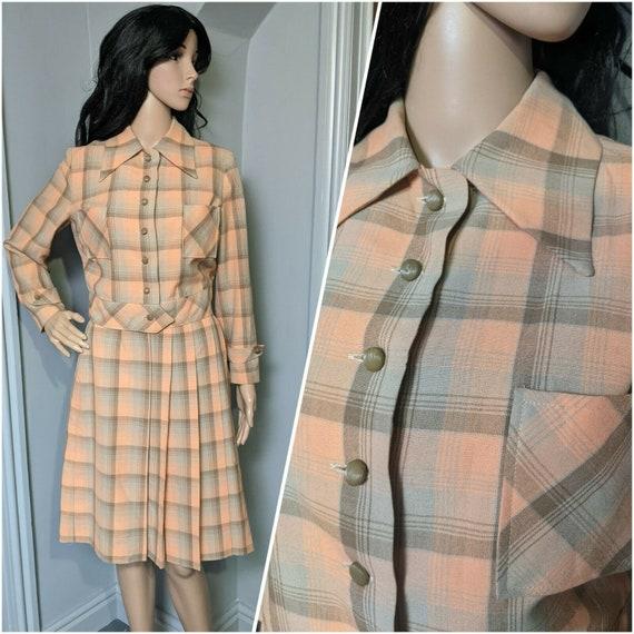 Vintage 1930s Plaid Two Piece Suit Jacket Top Plea