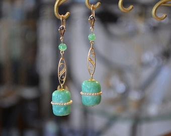 Antique 1920s deco earrings jewelry antique Rousselet Paris .