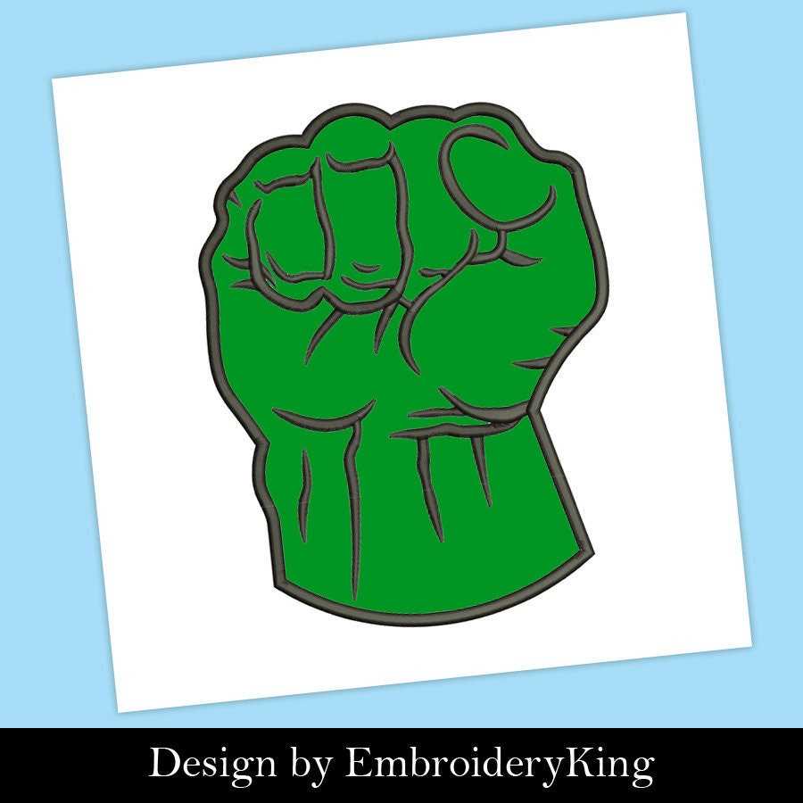 Hulk Hand Fist Superhero Applique Embroidery Machine Design Etsy