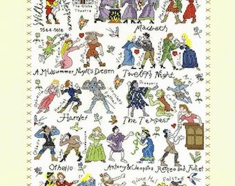 Bothy Threads William Shakespeare Play Characters Counted Cross Stitch Kit - 28x38cm