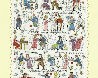 Bothy Threads Jane Austen Book Characters Counted Cross Stitch Kit - 28x38cm