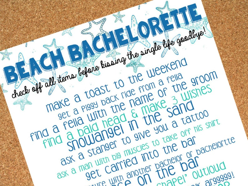 image regarding Bachelorette Scavenger Hunt Printable called Seaside Bachelorette Scavenger Hunt