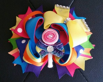Candyland Over the Top lollipop Hair Cutie Large Happy Birthday Hairbow 5.5""