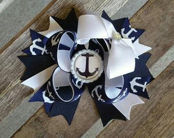 Sailor Navy Anchor Hairbow