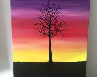 """Tree Silhouette 18""""x24"""" acrylic painting on canvas"""