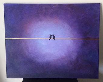 """Love Birds 16""""x20"""" acrylic painting on canvas, bird couple perched on a golden wire over a purple background"""