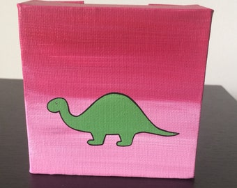 """Brontosaurus 4""""x4"""" acrylic painting on canvas, green dinosaur over a pink and red background"""