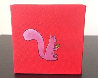 """Squirrel 4""""x4"""" acrylic painting over a red background"""