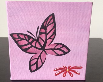 """Butterfly, 4""""x4"""" acrylic painting over a pink background"""