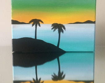 """Tropical Oasis Silhouette 5""""x7"""" acrylic painting on canvas, palm trees, island, ocean sunset"""