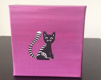 """Cat 4""""x4"""" acrylic painting over a purple background"""