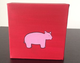 """Pig 4""""x4"""" acrylic painting on canvas, farm animal over a red background"""