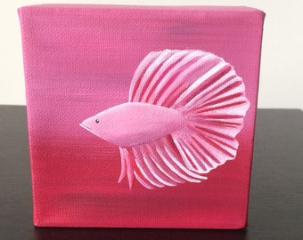 """Betta Fish 4""""x4"""" acrylic painting over a red and pink background"""