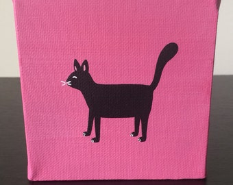 """Cat 4""""x4"""" acrylic painting over a pink background"""