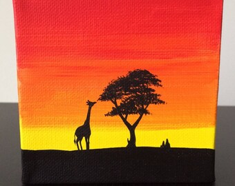 Giraffe - 4x4 canvas, original acrylic African silhouette painting