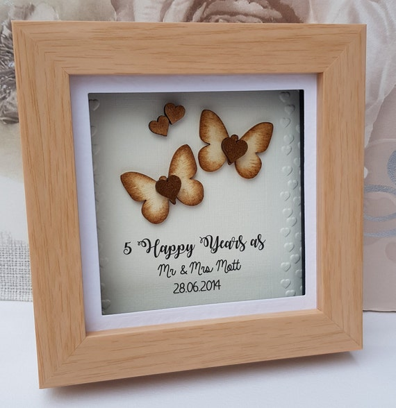 5th Wedding Anniversary Gift.5th Wedding Anniversary Gift 5th Anniversary Wood Anniversary Gift 5 Year Anniversary Gift For Couple For Her Him Personalised Frame