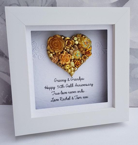 50 Jahrestag Geschenk Goldene Hochzeit 50 Hochzeitstag Geschenk 50 Gold Jahrestag Geschenk Personalisierte Rahmen Handgefertigt