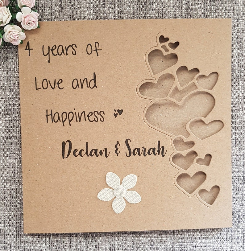 4th linen anniversary card,flower wedding anniversary,handmade gift,personalised card for husband,wife,couple,4 anniversary,4 years married