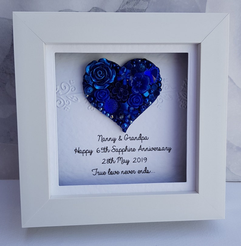 45th Wedding Anniversary Gift.45th Wedding Anniversary Gift 45th Anniversary Gift Sapphire Anniversary Sapphire Wedding Gift Personalised Frame Handmade Sapphire Frame